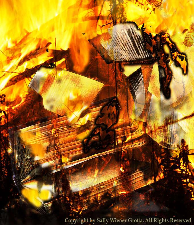 Books Burning by Sally Wiener Grotta
