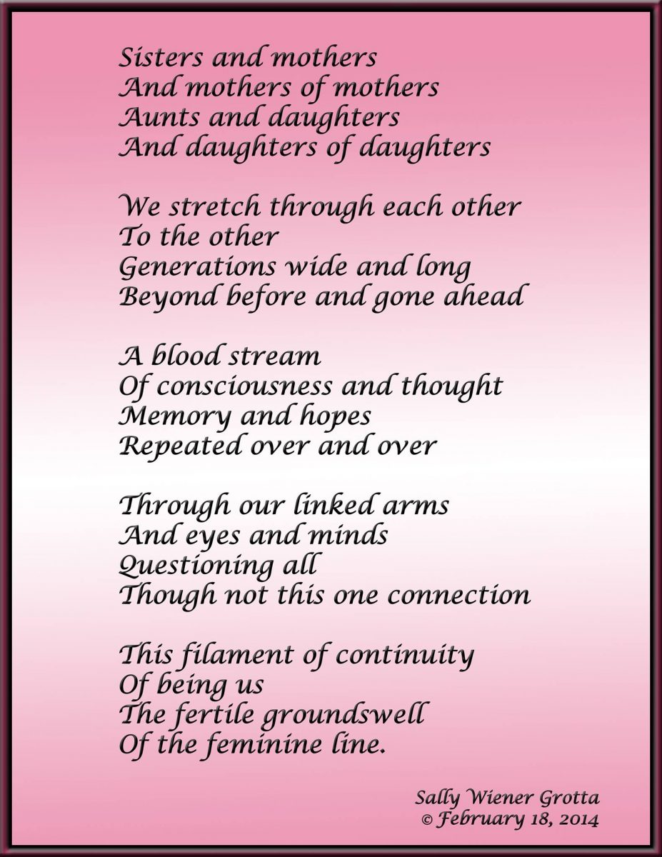 """Sisters and Mothers"" a poem by Sally Wiener Grotta"