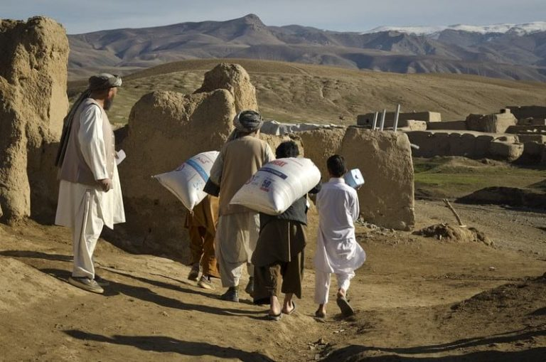 World Food Programme - picture of Villagers in Afghanistan gather food rations. (Photo credit: WFP/ Teresa Ha)