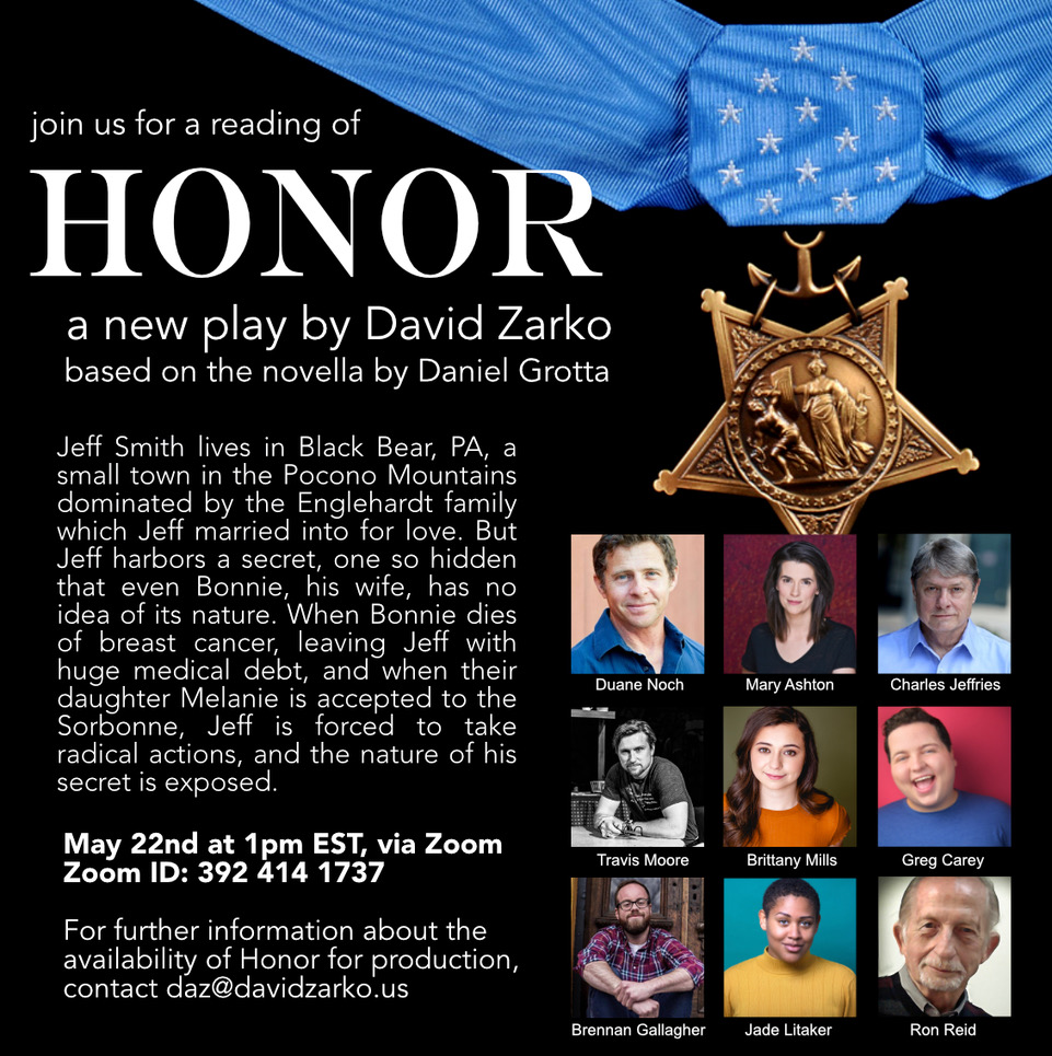 Poster for a reading of Honor, a play by David Zarko, based on a novella by Daniel Grotta