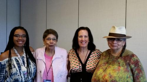 Nisi Shawl and Sally Wiener Grotta with Nisi's mother (June Cotton) and her niece at Readercon 2018