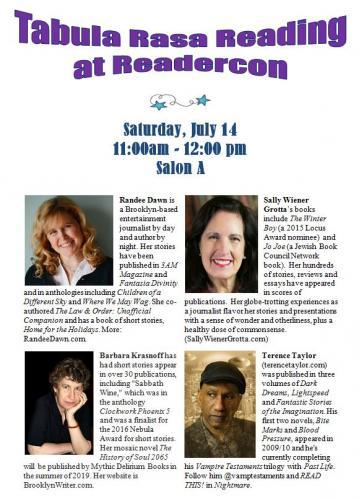 Tabula Rasa writers group flyer